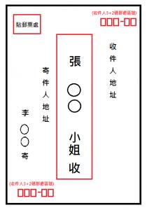 國內直式信封書寫範例與郵票黏貼