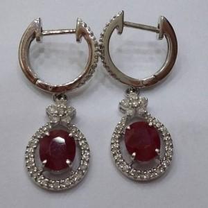 紅寶米鑽耳環