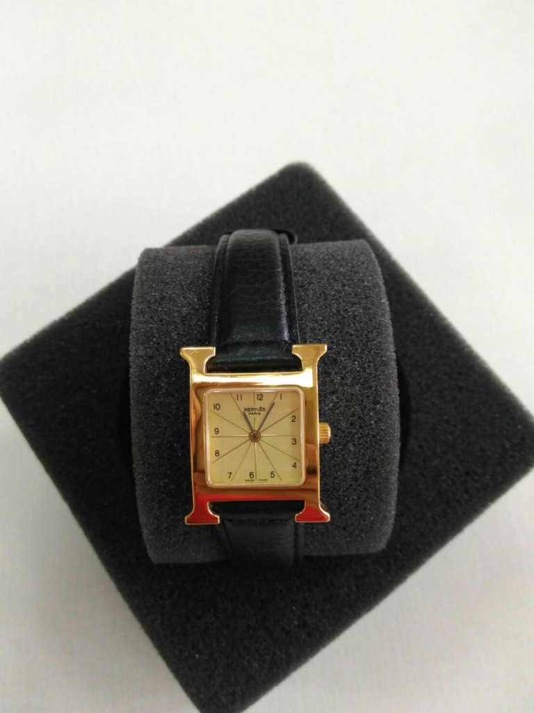 愛馬仕金框石英女錶